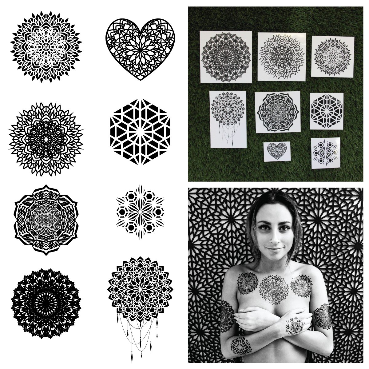 Tattify Assorted Mandala Long Lasting Temporary Tattoos That Look Real, Includes 16 Tattoos, 2 of Each Design in The Ascension Collection, Safe for All Skin Types and Easy To Apply and Remove