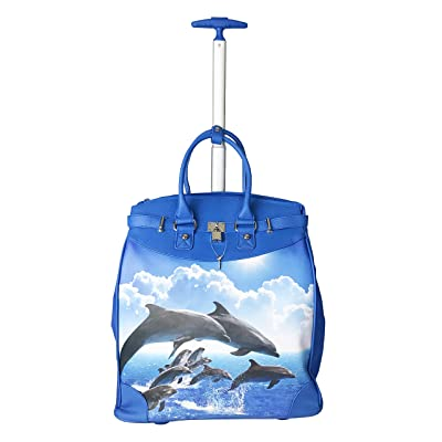 durable service Trendy Flyer Computer/Laptop Rolling Bag 2 Wheel Case Fish / Dolphin