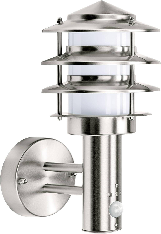 GEV 021686 Außenwandleuchte mit Bewegungsmelder Energiesparlampe, LED E27 60W Edelstahl