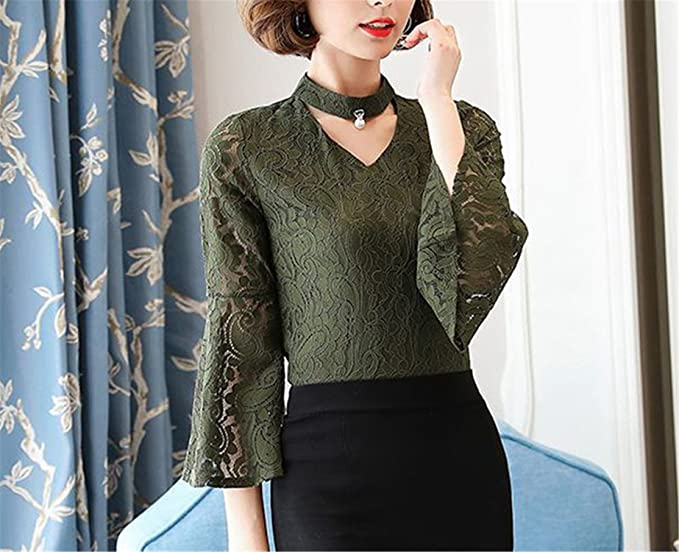 OUXIANGJU Female Spring Blouses Women Fashion Lace Tops Ladies V-Neck Long Sleeve Dentelle Shirts at Amazon Womens Clothing store: