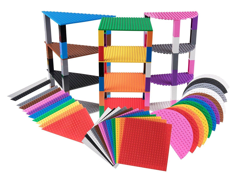Lot DE 36 Plaques de Base empilables - avec 60 Briques Stackers Améliorées - de qualité - en Forme de Triangle/Demi-Cercle/carré - Compatible avec Les Grandes Marques - Arc-en-Ciel - 15, 2 cm Strictly Briks