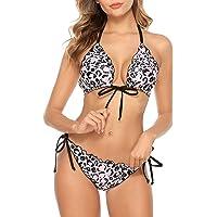 CharmLeaks Women's Two Piece Swimsuit Halter Solid Color Triangle Reversable Bikini Set
