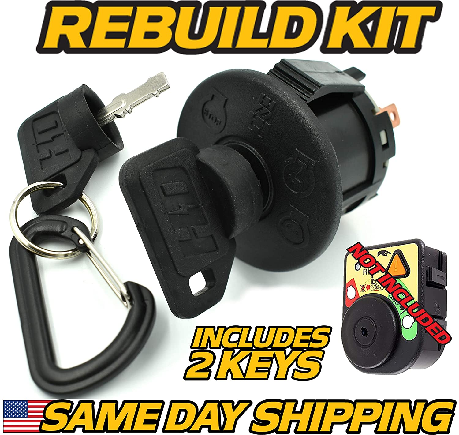 Craftsman, Sears, 193350, 532193350 Ignition Switch - OEM Upgrade W/ 2 Premium Keys & Free Carabiner Keychain - HD Switch