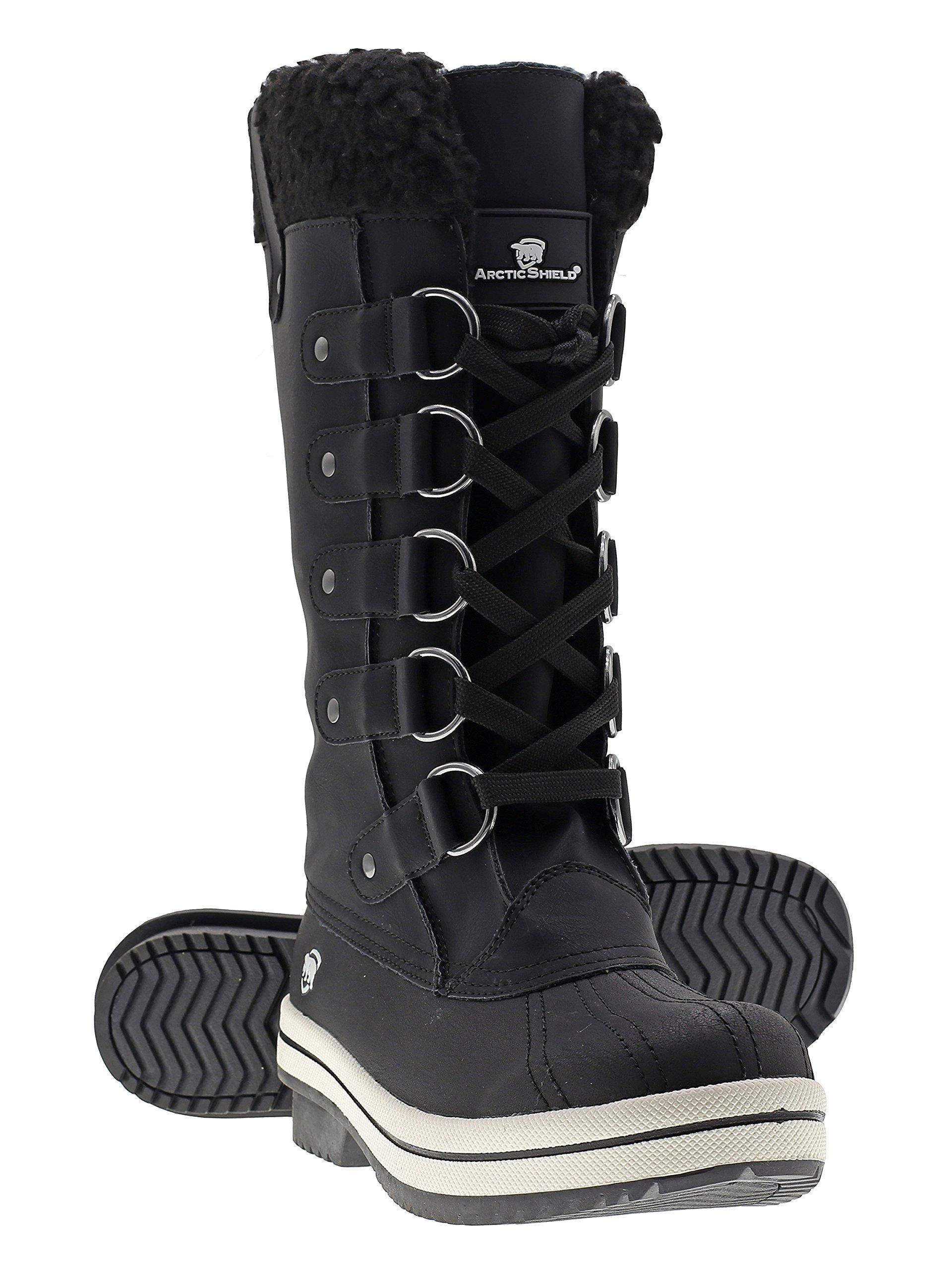 Arctic Shield Women's Warm Comfortable Insulated Waterproof Durable Outdoor Winter Snow Boots (7 US Women's, Black)
