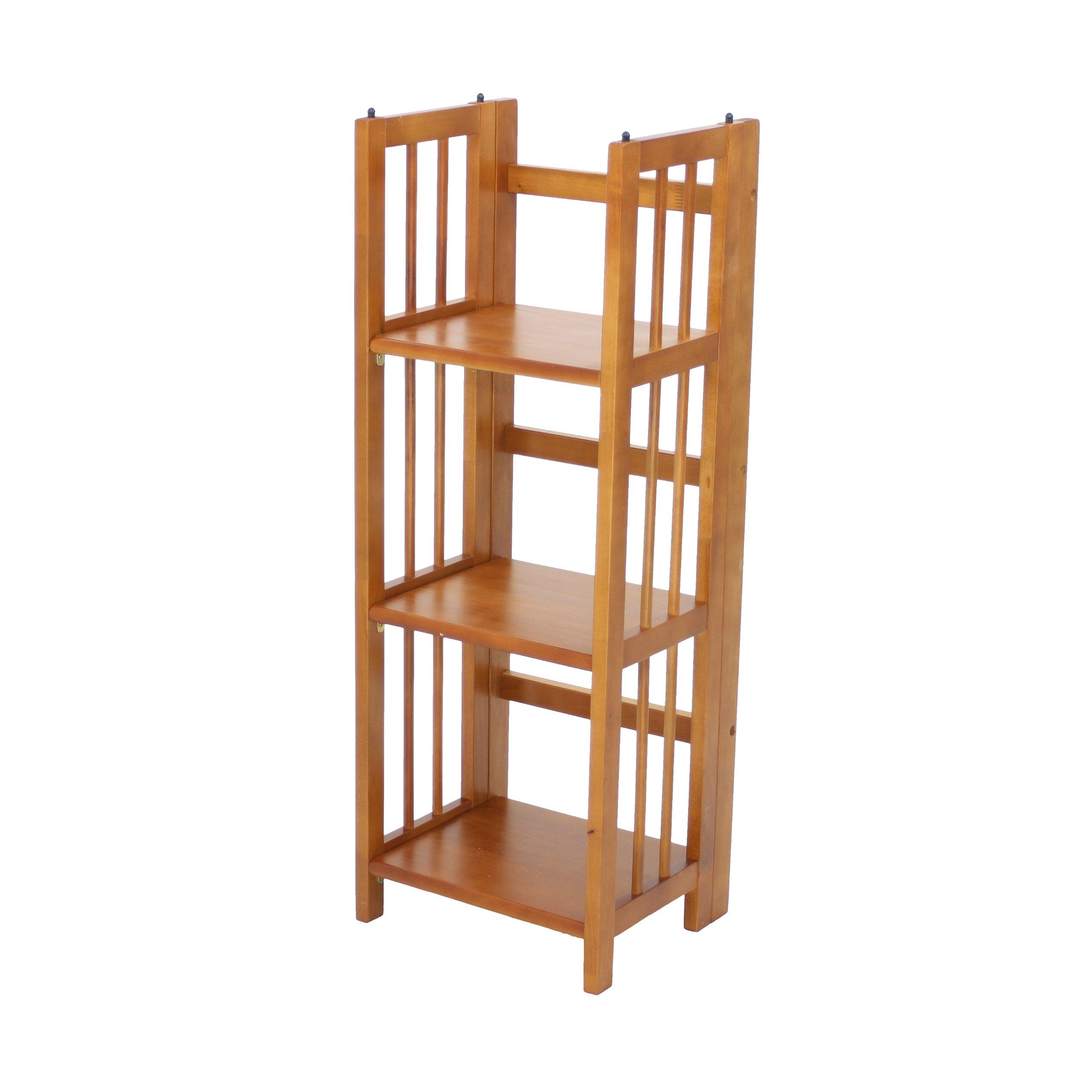Casual Home 3-Shelf Folding Bookcase (14'' Wide)-Honey Oak