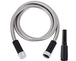 FOXEASE Metal Water Lead Hose Connector 5 ft - Stainless Steel Water Hose with Adjustable Nozzle, Lightweight, Tangle Free &