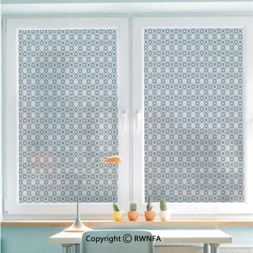 RWNFA Window Film No Glue Glass Sticker Complex Optical Illusional Design with Vertical Nested Squares Chevron Zigzags Static Cling Privacy Decor for Kitchen Bathroom 22.8x35.4inches,Blue White