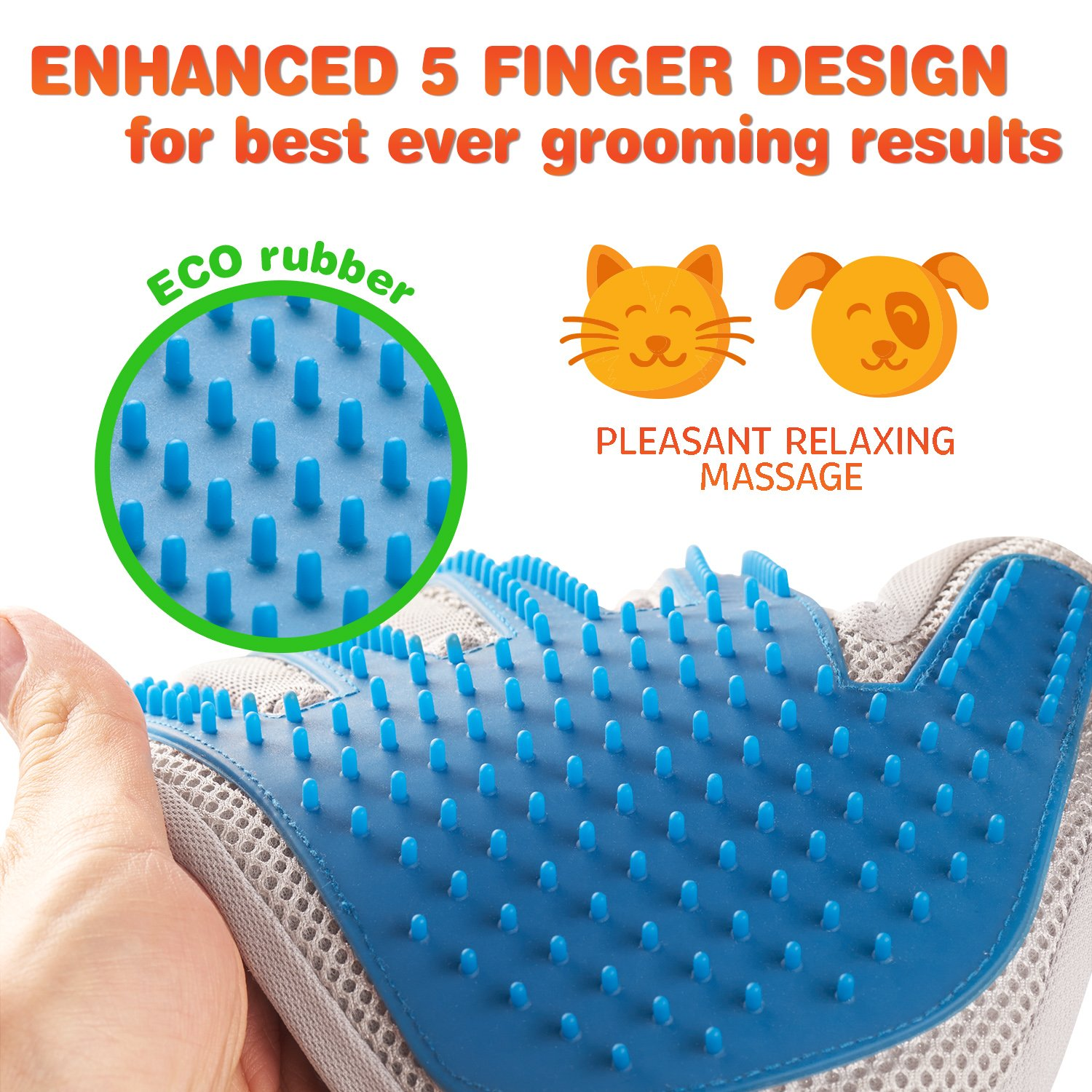 Pet Grooming Glove - Enhanced Five Finger Design - for Cats, Dogs & Horses - Long & Short Fur - Gentle De-Shedding Brush - Your Pet Will Love It (Right) by Pat Your Pet (Image #3)