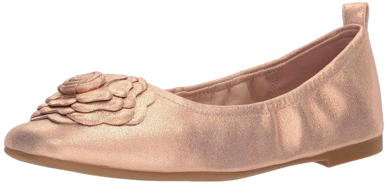 Taryn Rose Women's Rosalyn Powder Metallic Ballet Flat B074B58RVM 5 M M US|Rose Gold