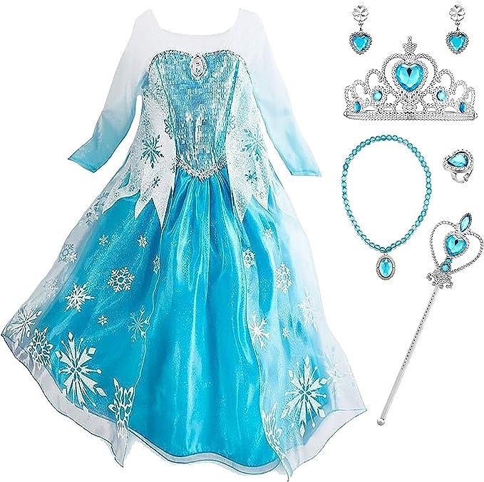 YOSICIL Vestido de Princesa Elsa Niña Disfraz Frozen Elsa con ...