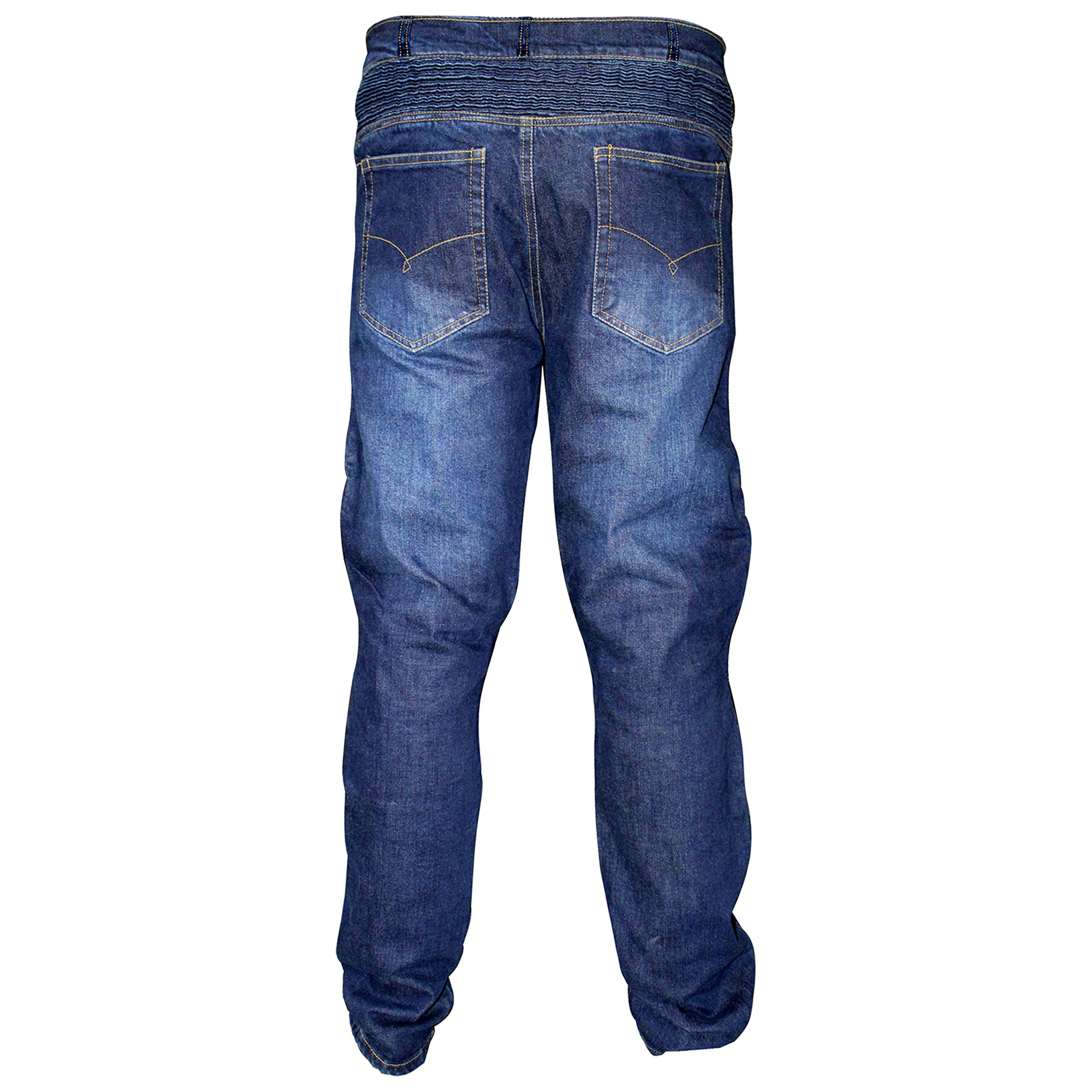 REXTEK Motorbike Motorcycle Armoured Jeans Pant Denim Trousers with Safety Protection - Jeans with 2X Knee Guards 2X Hip Guards for Men Boys/Size 6XL Waist - 46