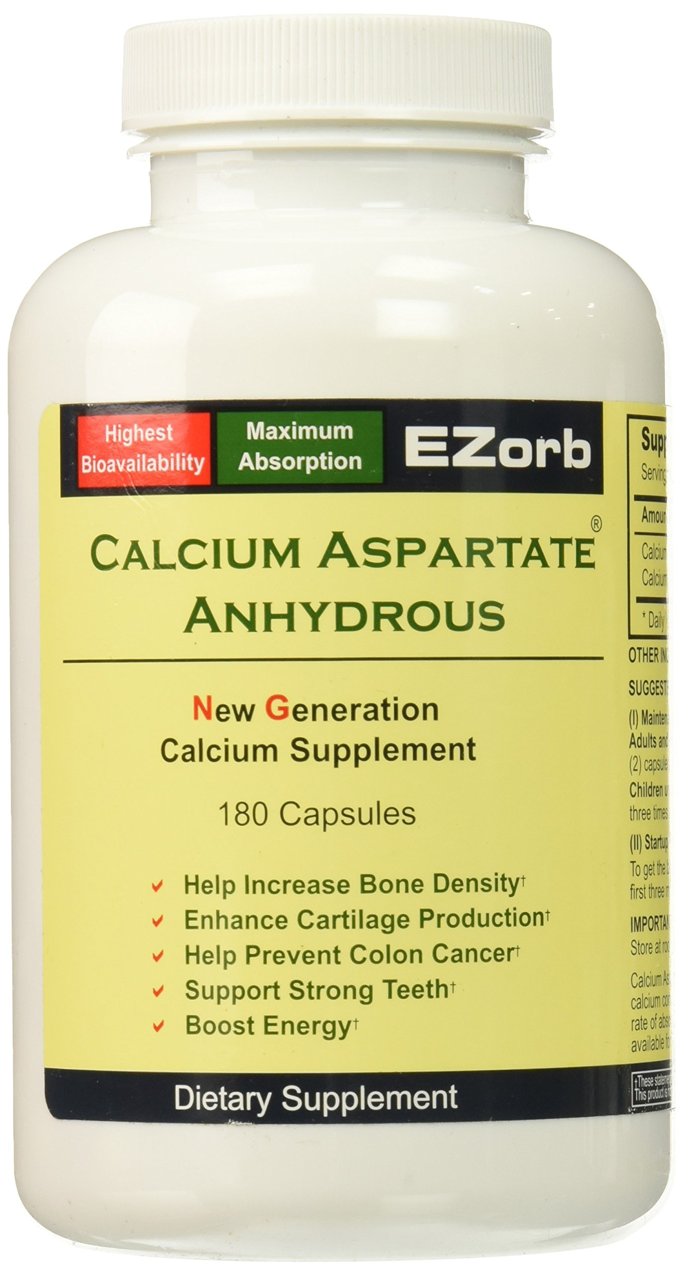 Ezorb Calcium 180 Capsules for Bone, Joint, Muscle Health by Elixir Industries