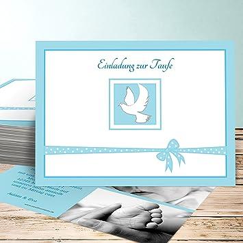 Einladungskarten Zur Taufe Selber Basteln Günstling 15 Karten Horizontal Einfach 148x105 Inkl Weiße Umschläge Blau
