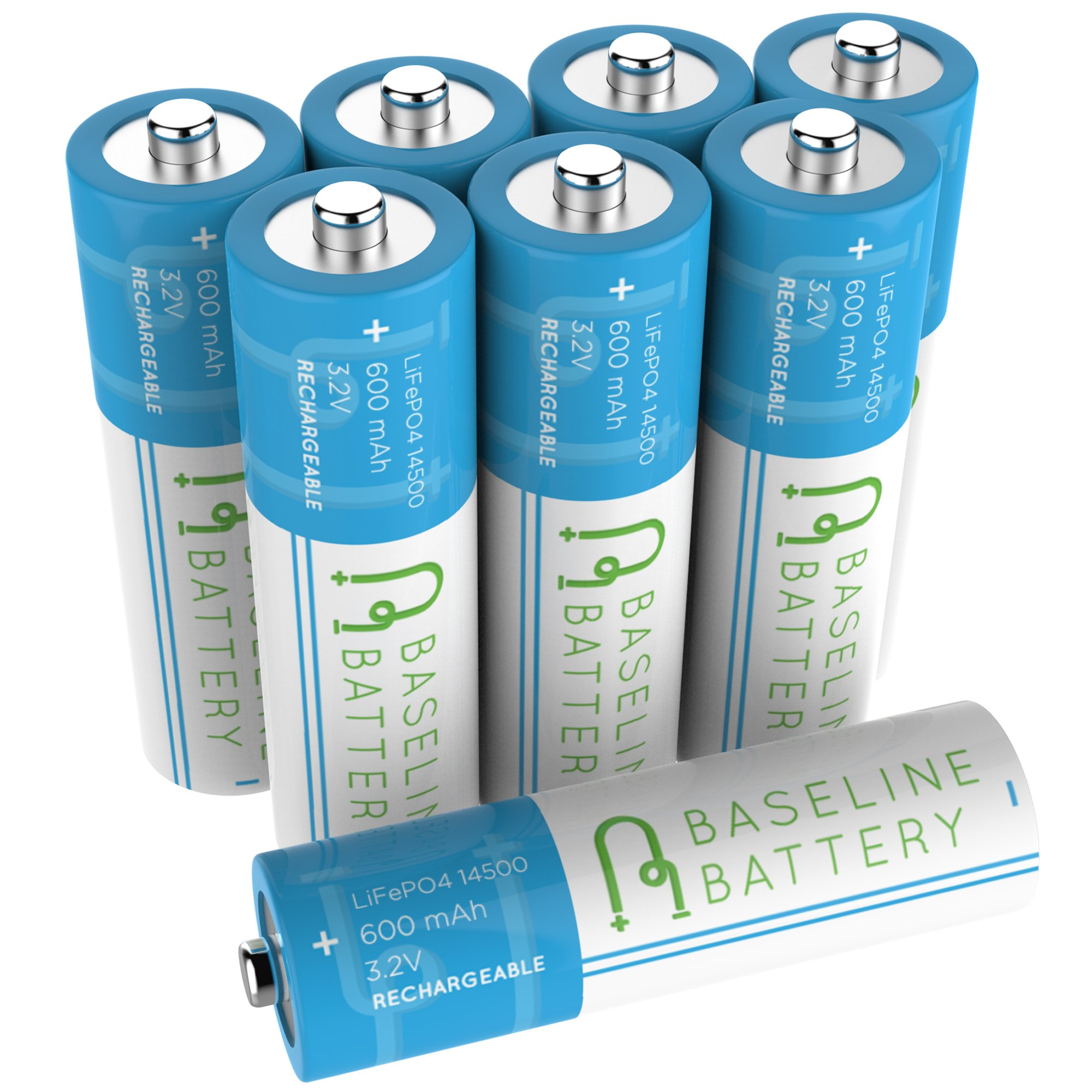 8 Baseline Battery 600mAh 14500 3.2v LiFePO4 Lithium Phosphate AA Size Rechargeable Batteries Solar Garden Light