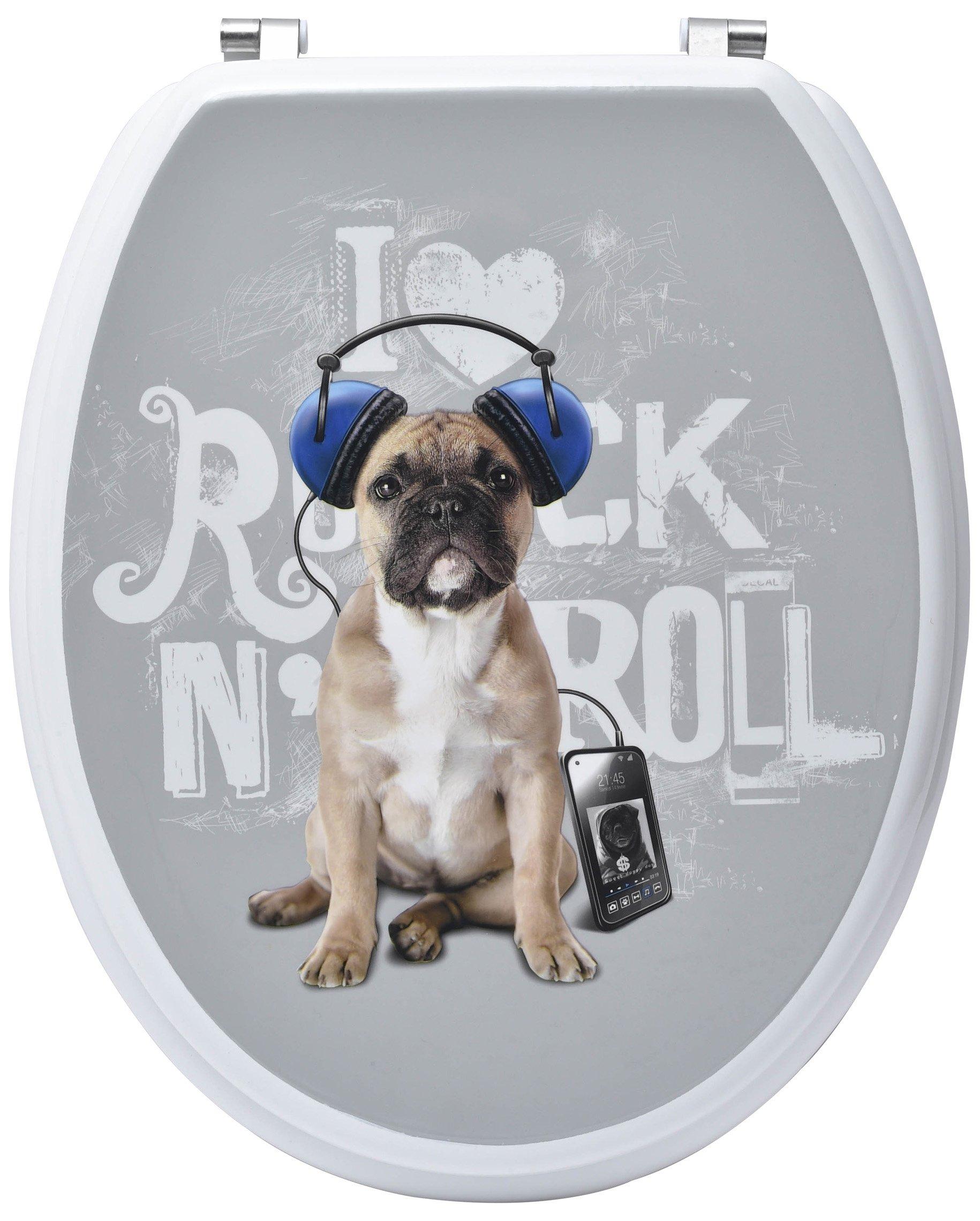 Evideco 4103472 Rex French Bulldog Puppy Toilet Seat Adjustable Zinc Hinges, Oval, Elongated, Grey
