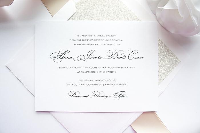 Amazon Com Simple Traditional Wedding Invitation Sample