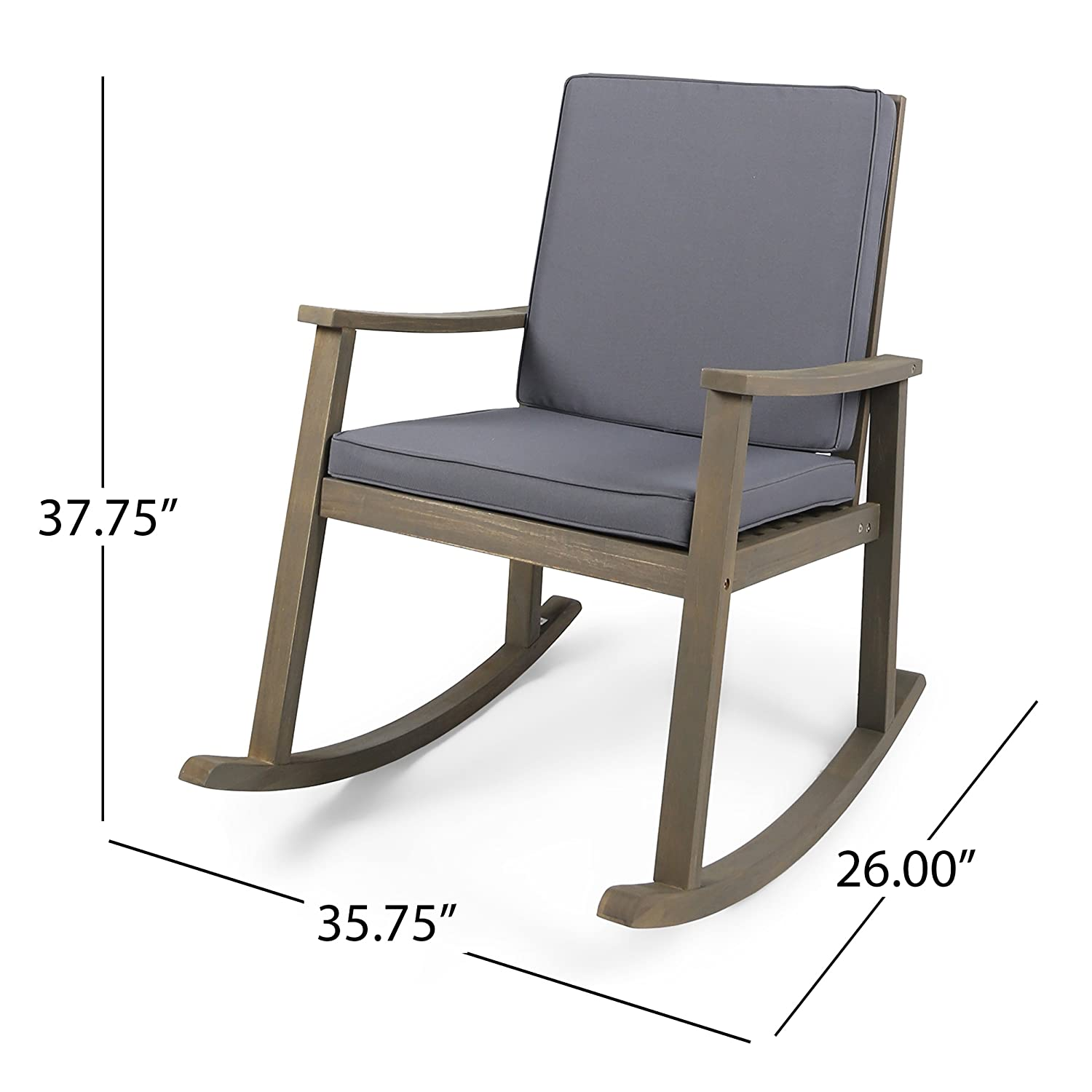 Merveilleux Amazon.com : Great Deal Furniture Caspar | Outdoor Acacia Wood Rocking Chair  With Cushion | Grey/Dark Grey : Garden U0026 Outdoor