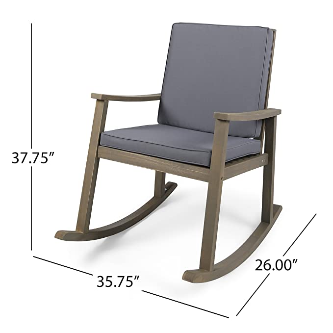 Etonnant Amazon.com : Great Deal Furniture Caspar | Outdoor Acacia Wood Rocking Chair  With Cushion | Grey/Dark Grey : Garden U0026 Outdoor