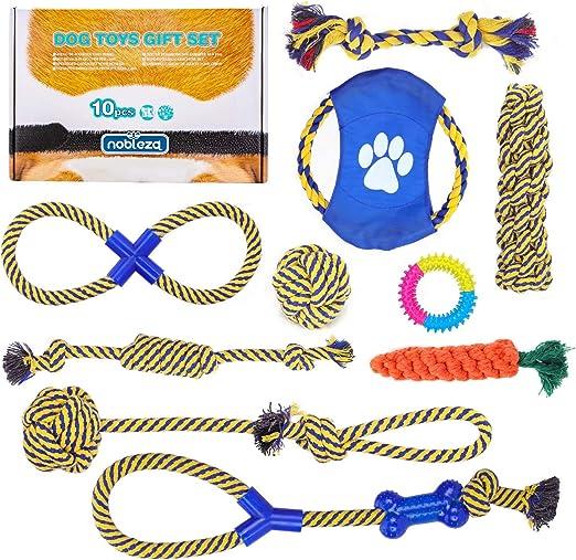 Nobleza – Pack de 10 Juguetes para Perro. Set Fabricado en Cuerda ...