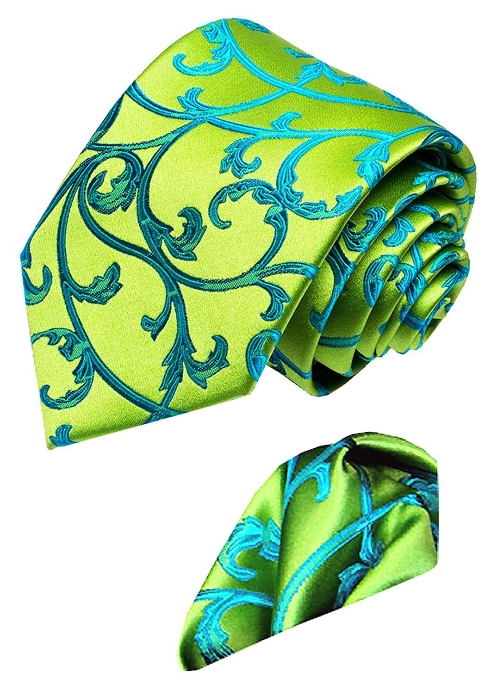 Floral gemusterte Krawatte mit Einstecktuch Gr/ün T/ürkis Marken 2 er Set aus 100/% Seide 8452101 Lorenzo Cana