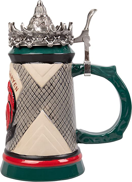 22 oz Hand Painted Ceramic Base with Pewter Baratheon Crown Lid Game of Thrones House Lannister Beer Stein