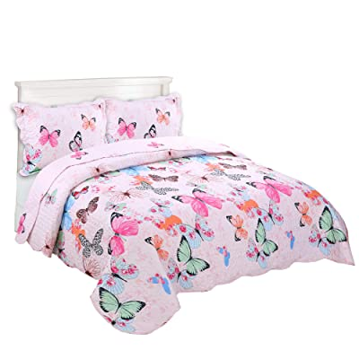 MarCielo 2 Piece Kids Bedspread Quilts Set Throw Blanket for Teens Boys Girls Bed Printed Bedding Coverlet A72 Butterfly (Full/Queen(98''x90'')): Home & Kitchen