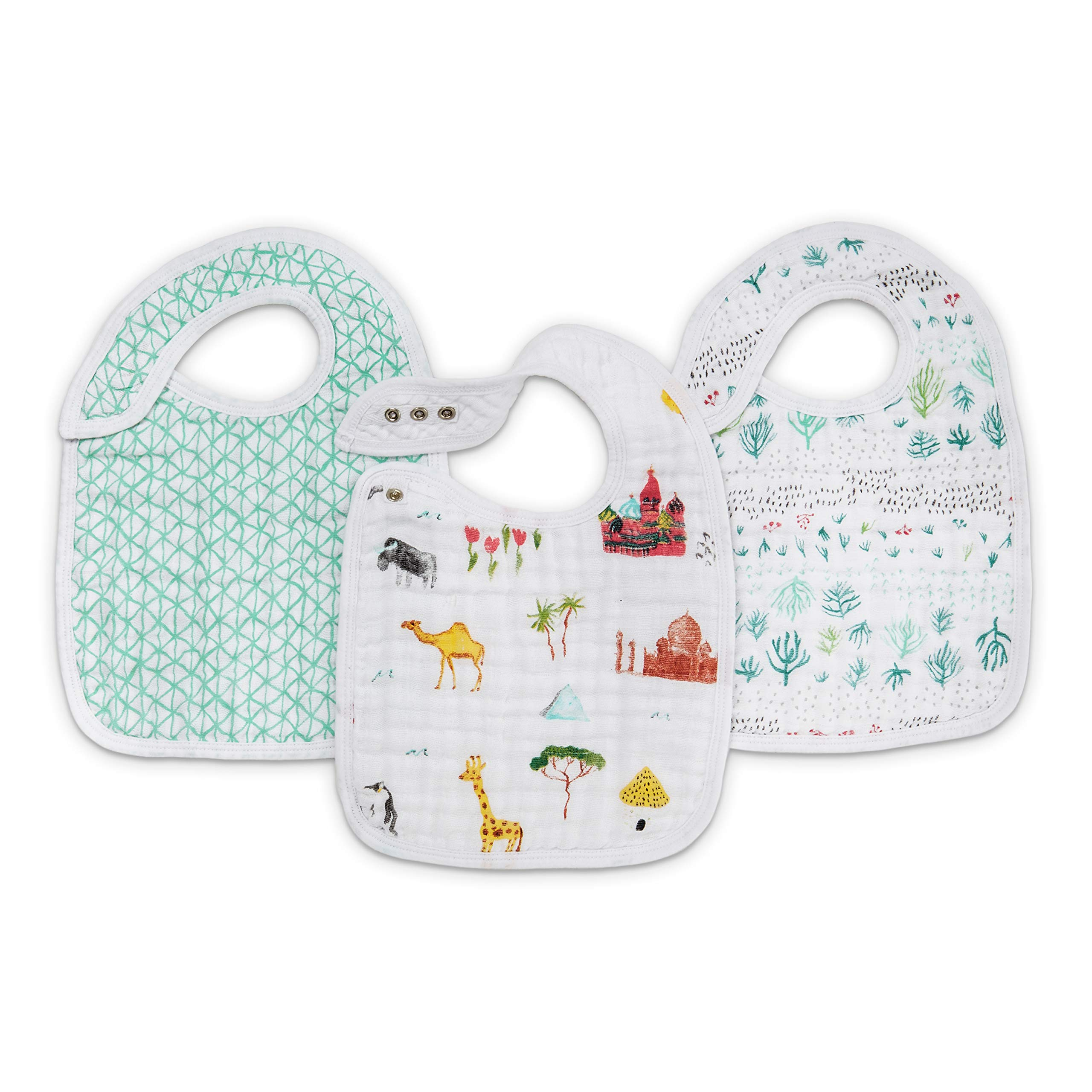 aden + anais Classic Snap Bib, 100% Cotton Muslin, Soft Absorbent 3 Layers, Adjustable, 9'' X 13'', 3 Pack, Around The World