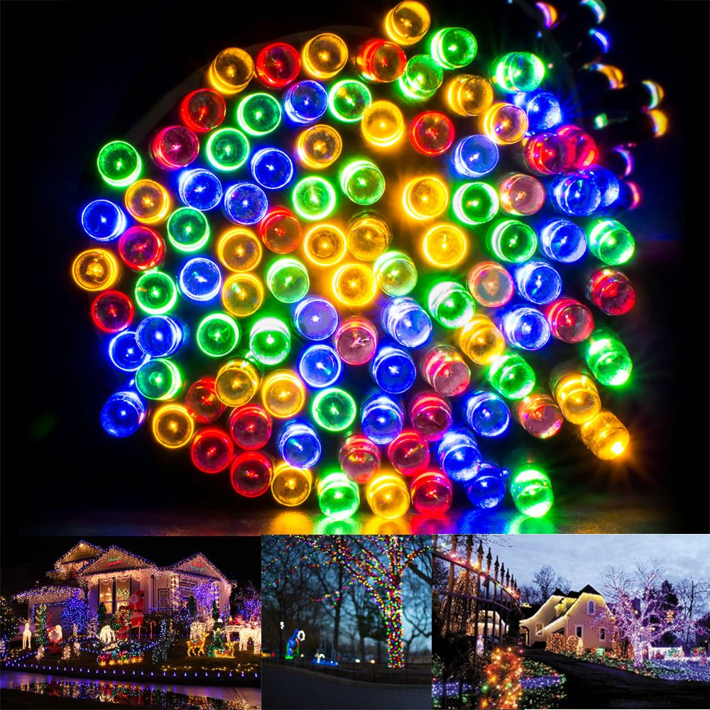 Solar Christmas String Lights Solarmks Ambiance Lighting 72ft 200 LED Decorative Fairy Light for Outdoor(Multi-Color)
