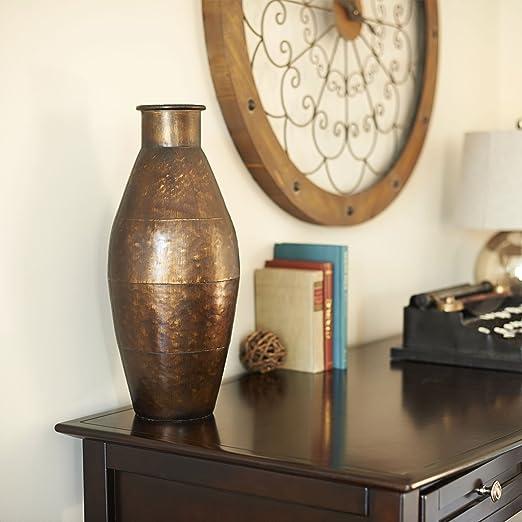 Household Essentials Decorative Cylinder Vase, Antique Bronze, 19.125