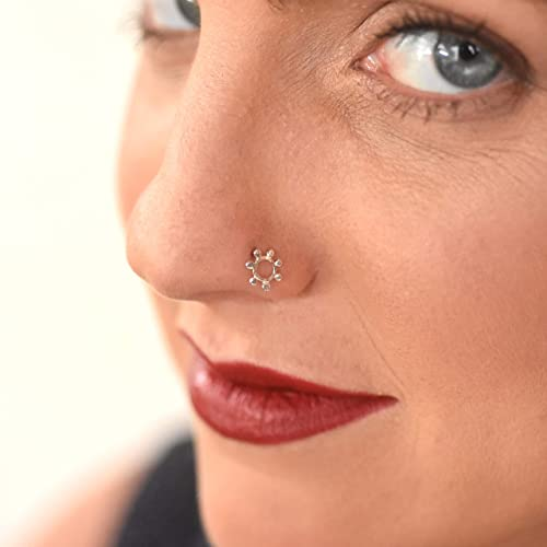 Amazon Com Silver Nose Ring Stud Flower Indian Sterling Silver