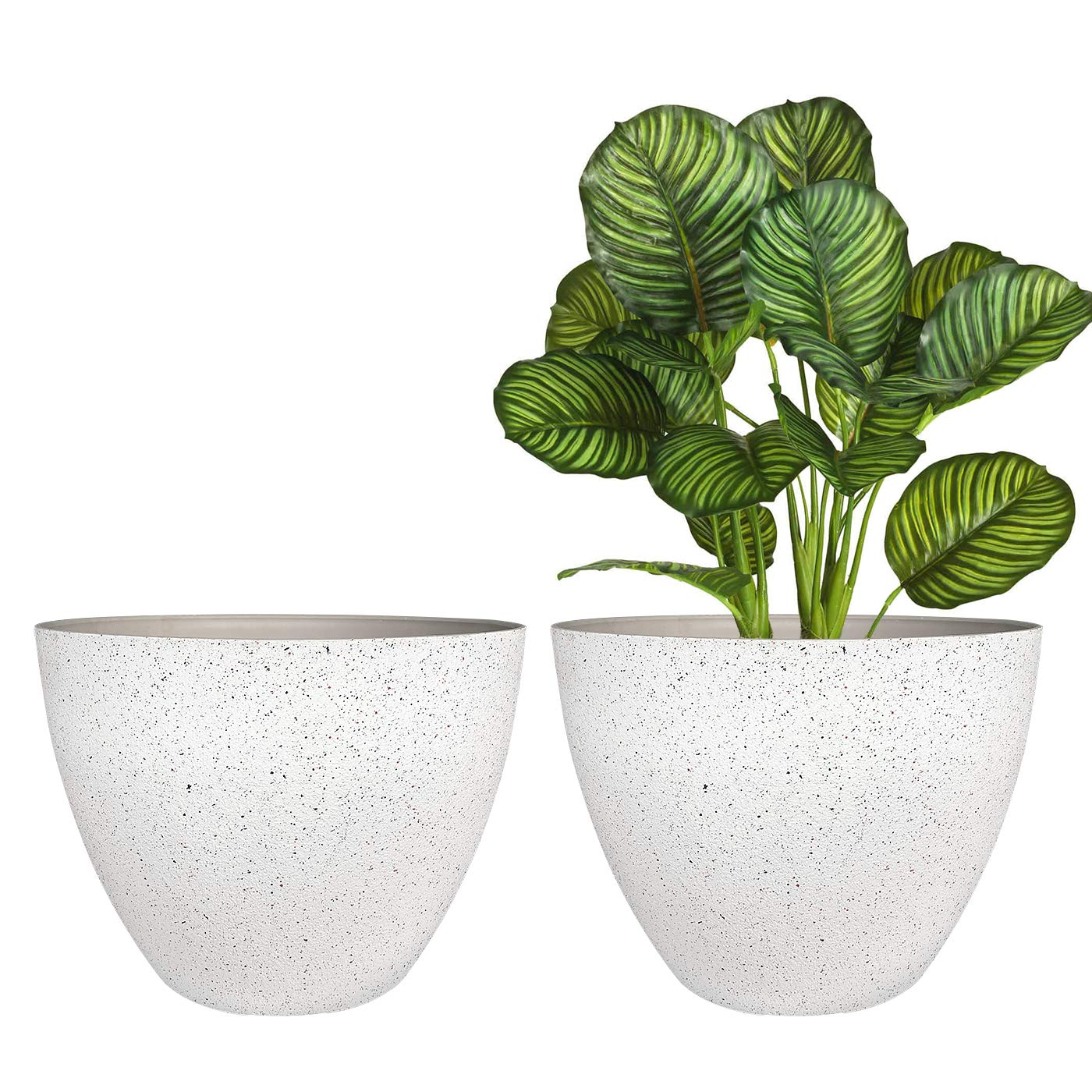 Flower Pots Outdoor,Indoor Pots for Plants Resin Planter, Indoor, Patio, Deck, Speckled White, 11.3 inches Set of 2 …
