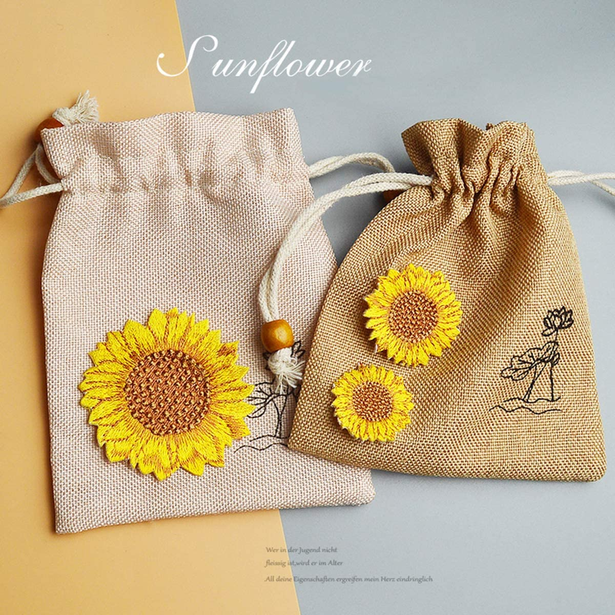 Misscrafts 3pcs Iron on Patches Sunflower Appliques in Assorted Size Iron Embroidery Applique Decoration DIY Patch for Backpack Clothing Men Women Kids