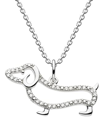 Dew Sterling Silver Sausage Dog Necklace of Length 45.7cm 8NoXE