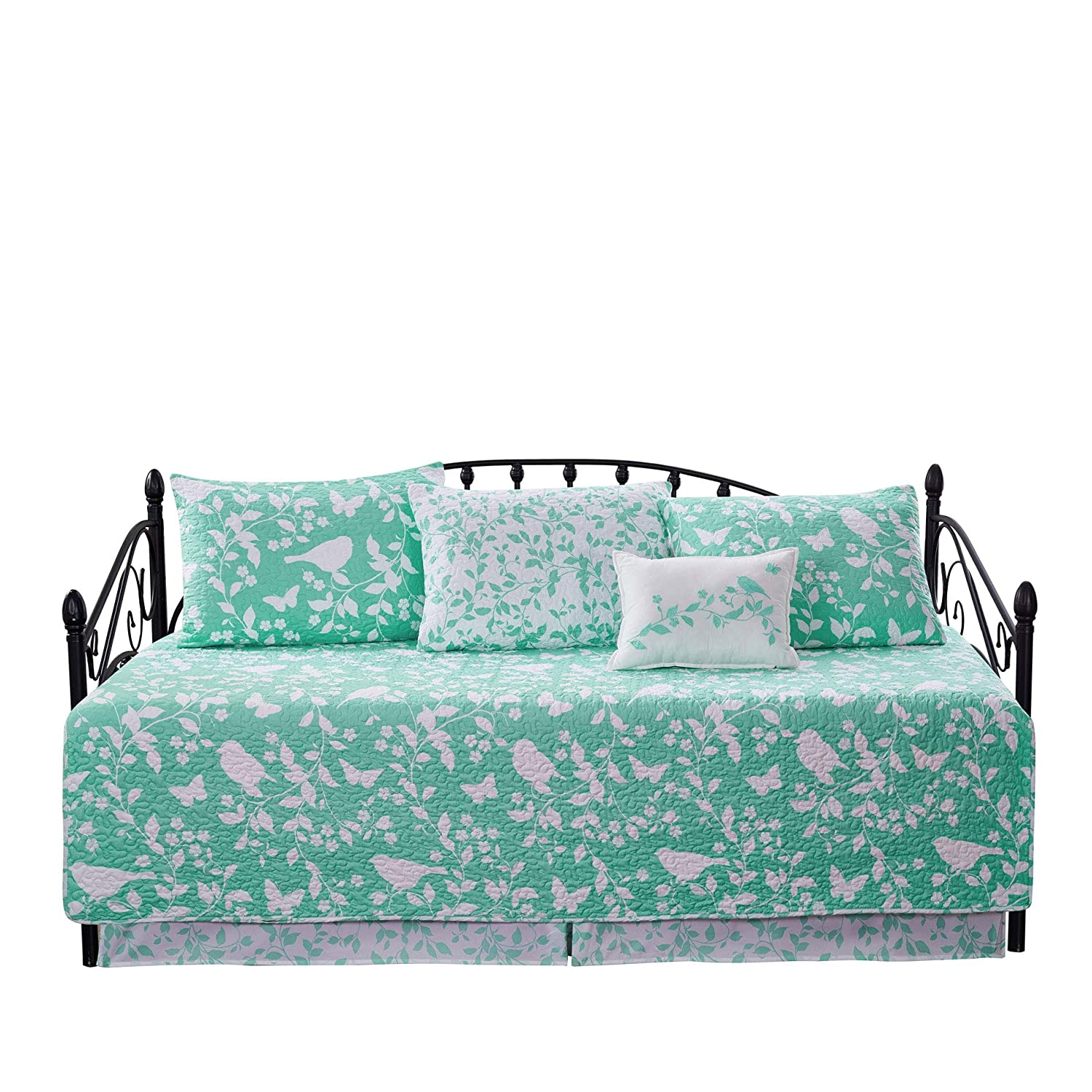 """Home Soft Things Serenta Birdsong 6 Piece Quilted Daybed Set, Teal, 75"""" x 39"""""""
