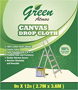 Green Atmos 1 pack 9 X 12 canvas drop cloth 8 oz cotton super heavy duty eco friendly all purpose painting interior paint shield floor furniture protector cotton duck fabric