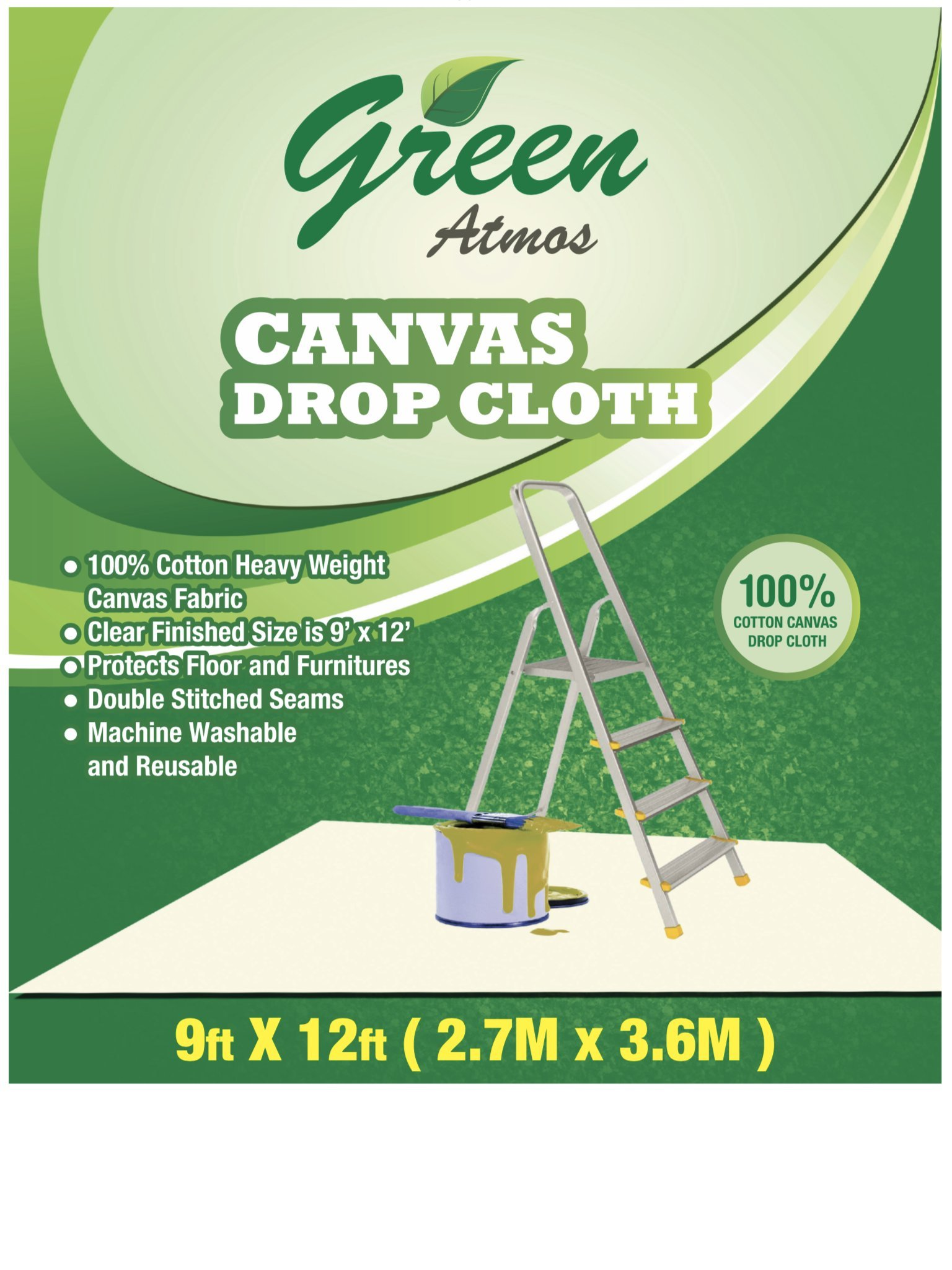 GREEN ATMOS 1 PACK- 9 X 12, 100% COTTON CANVAS DROP CLOTH - ECO FRIENDLY ALL PURPOSE PAINTING/ INTERIOR/ REFURBISHING/ CONTRACTOR'S CHOICE/ PAINT SHIELD/ FLOOR/ FURNITURE PROTECTOR.