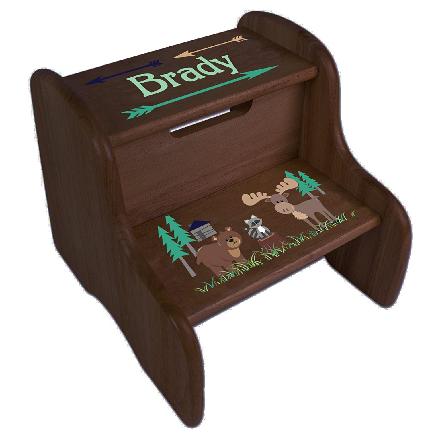 Personalized North Woodland Critters Espresso Two Step Stool MyBambino fixe-esp-218C