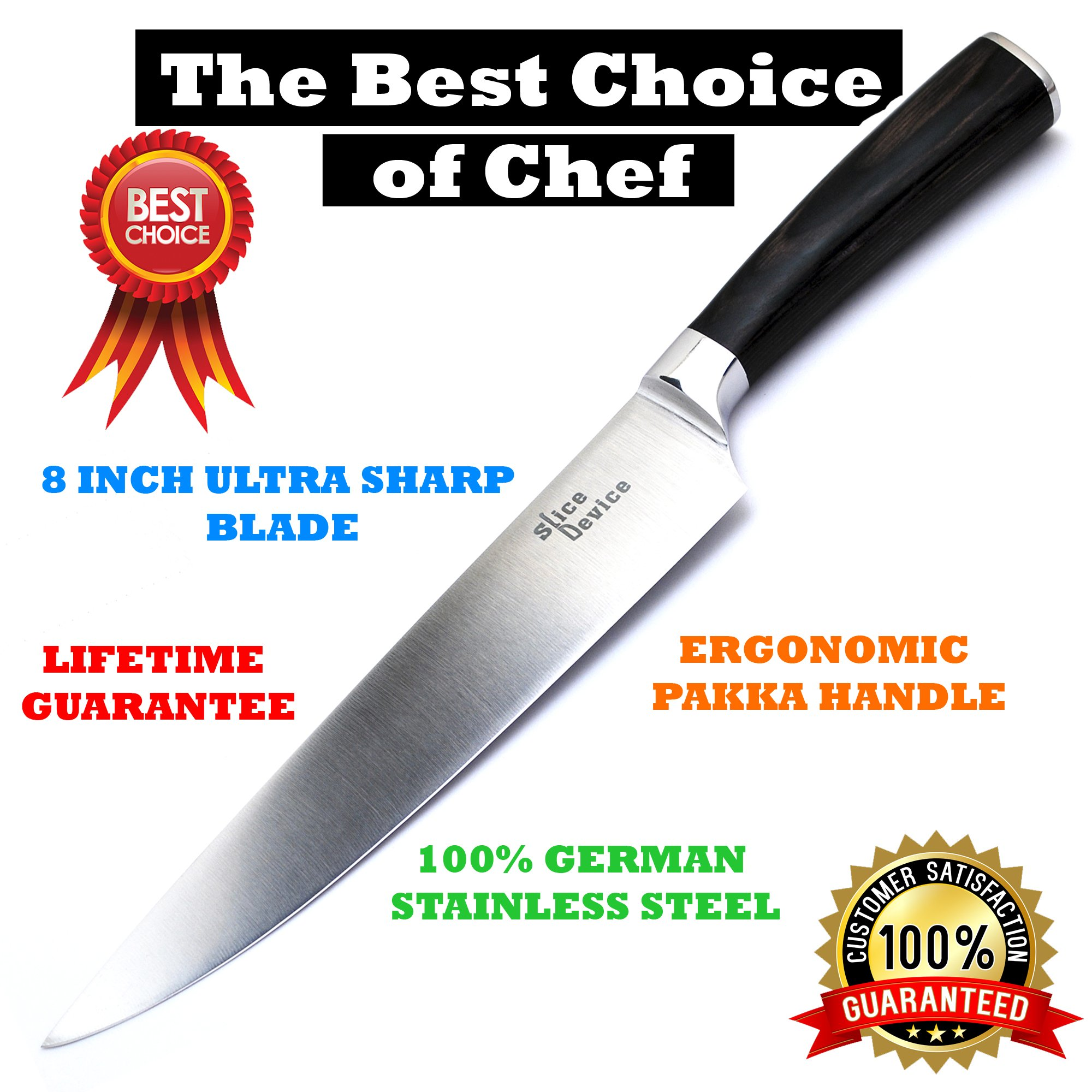 SliceDevice - 8 Inch Professional Chef Knife - Best Cutting Knife for Meat - Ultra Sharp Blade - German Stainless Steel - Comfortable Handle - Chopping Salads or Fruit - Kitchen Knife Set - GIFT BOX