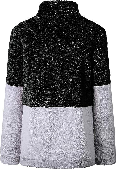 2d1a3ea210be57 BTFBM Women Long Sleeve Zipper Sherpa Sweatshirt Soft Fleece Pullover  Outwear Coat
