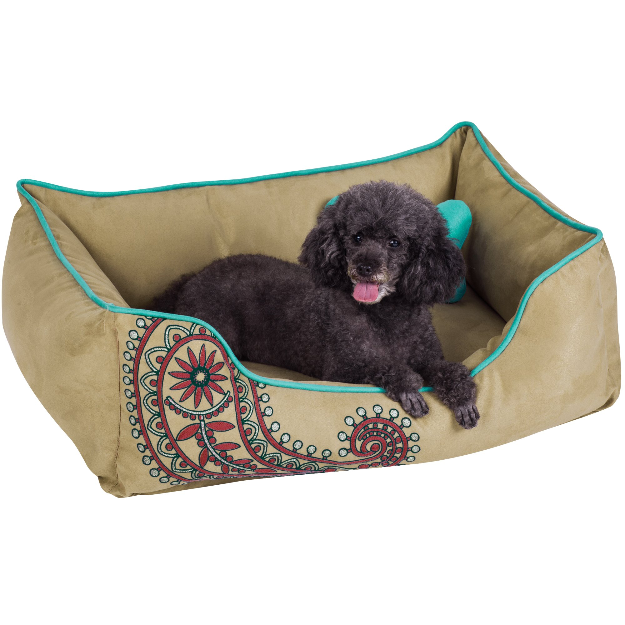 Blueberry Pet Heavy Duty Microsuede Overstuffed Bolster Lounge Dog Bed, Removable & Washable Cover w/YKK Zippers, 34'' x 24'' x 12'', 11 Lbs, Champagne Beige Embroidered Paisley Beds for Cats & Dogs