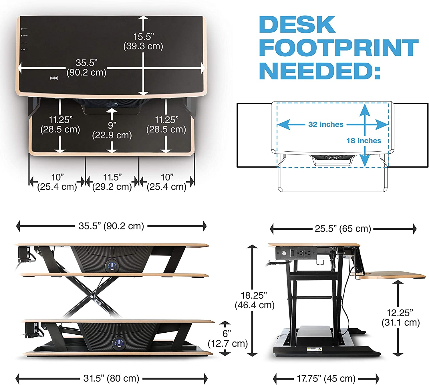 White Computer Desk Height Adjustable Sit Stand Up Converter 90 lbs Cloud Nine Electric Standing Desk Lifts Two Monitors - Motorized Riser
