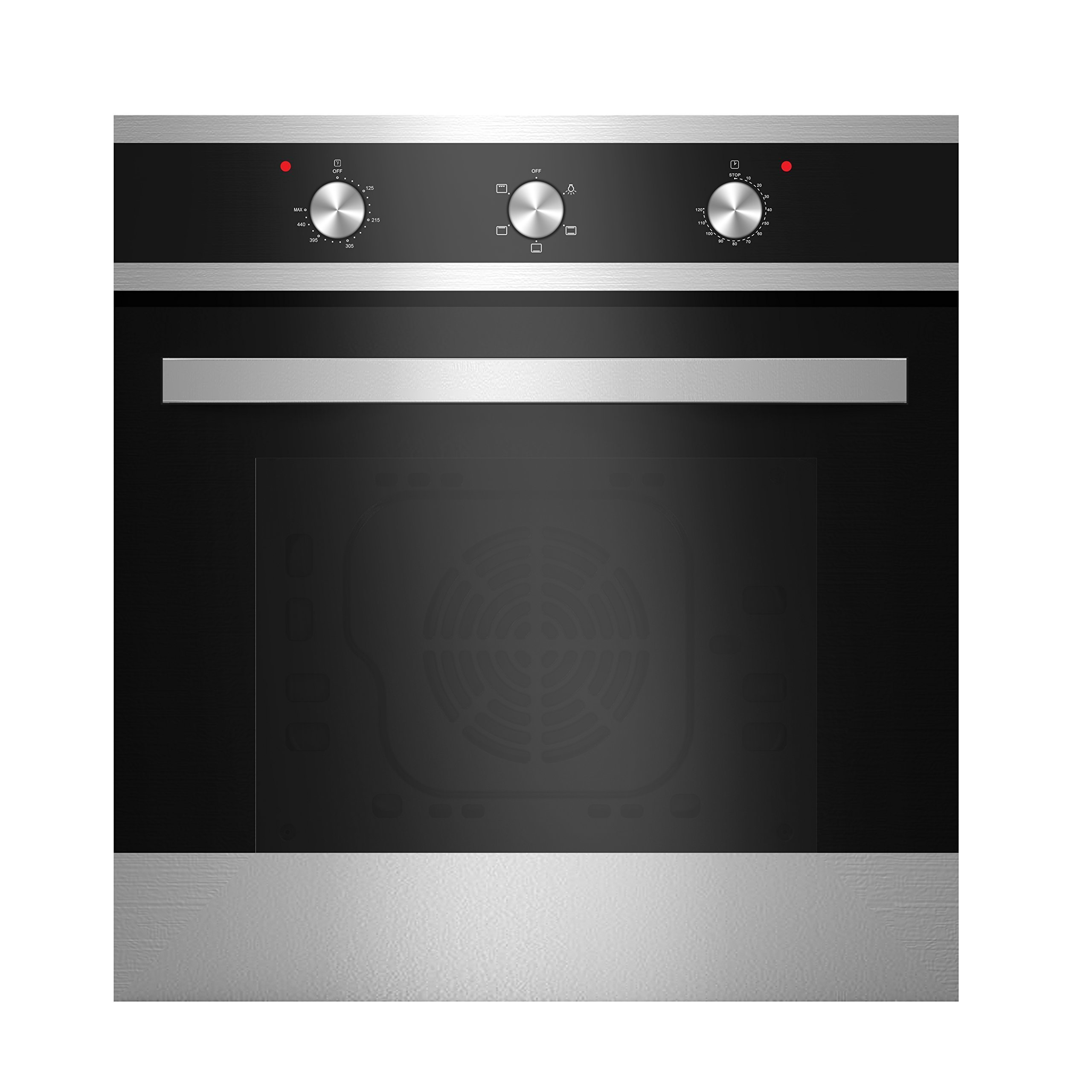 Empava 24'' Tempered Glass Electric Built-in Single Wall Oven with Broiler Function 2000W 110V, Black and Silver