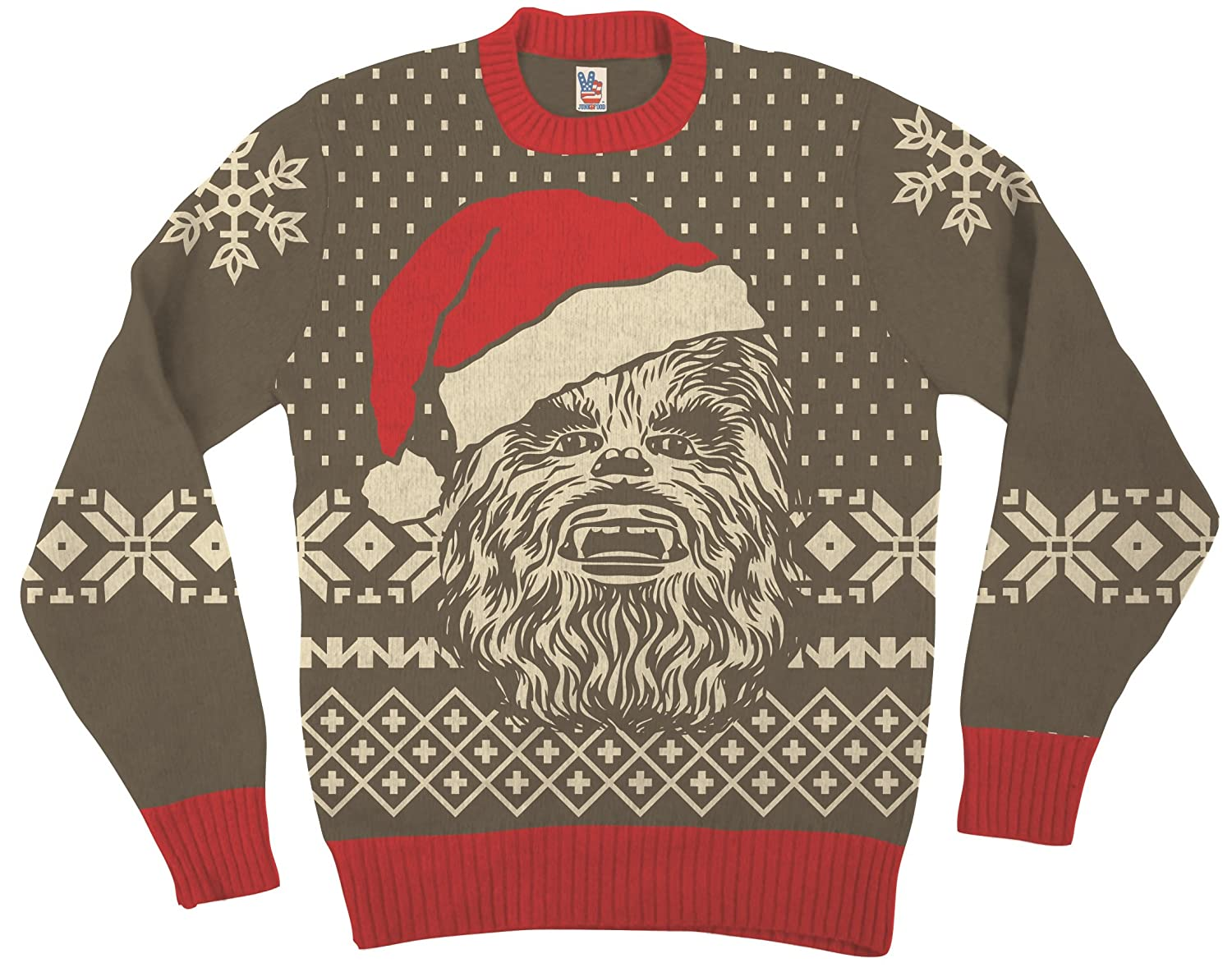 Star Wars Chewbacca Big visage with Père Noël a adultes Marron Laid Noël Sweater