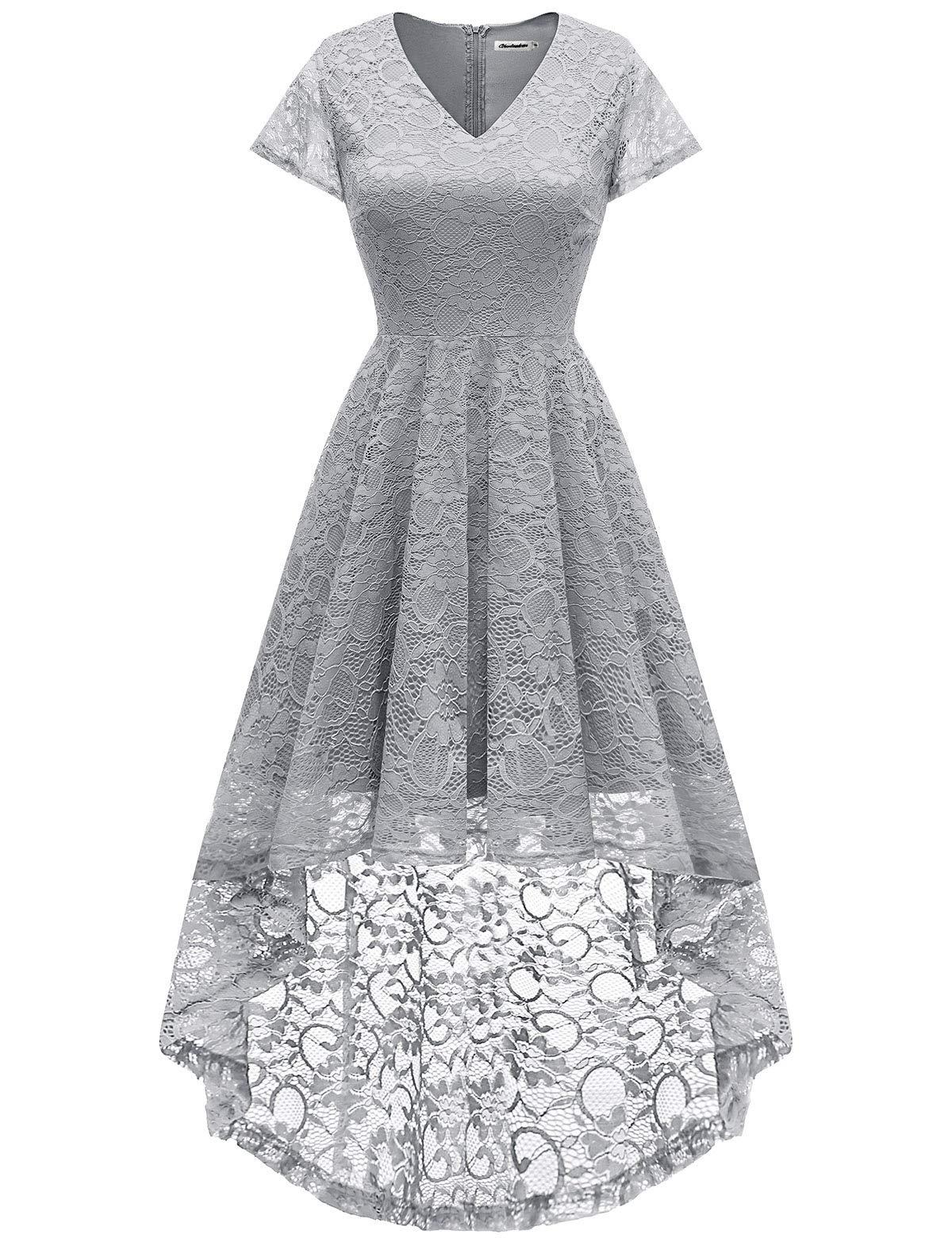 Bbonlinedress Women's Vintage Floral Lace Hi-Lo Cap Sleeve Formal Cocktail Prom Party Dress Grey XL