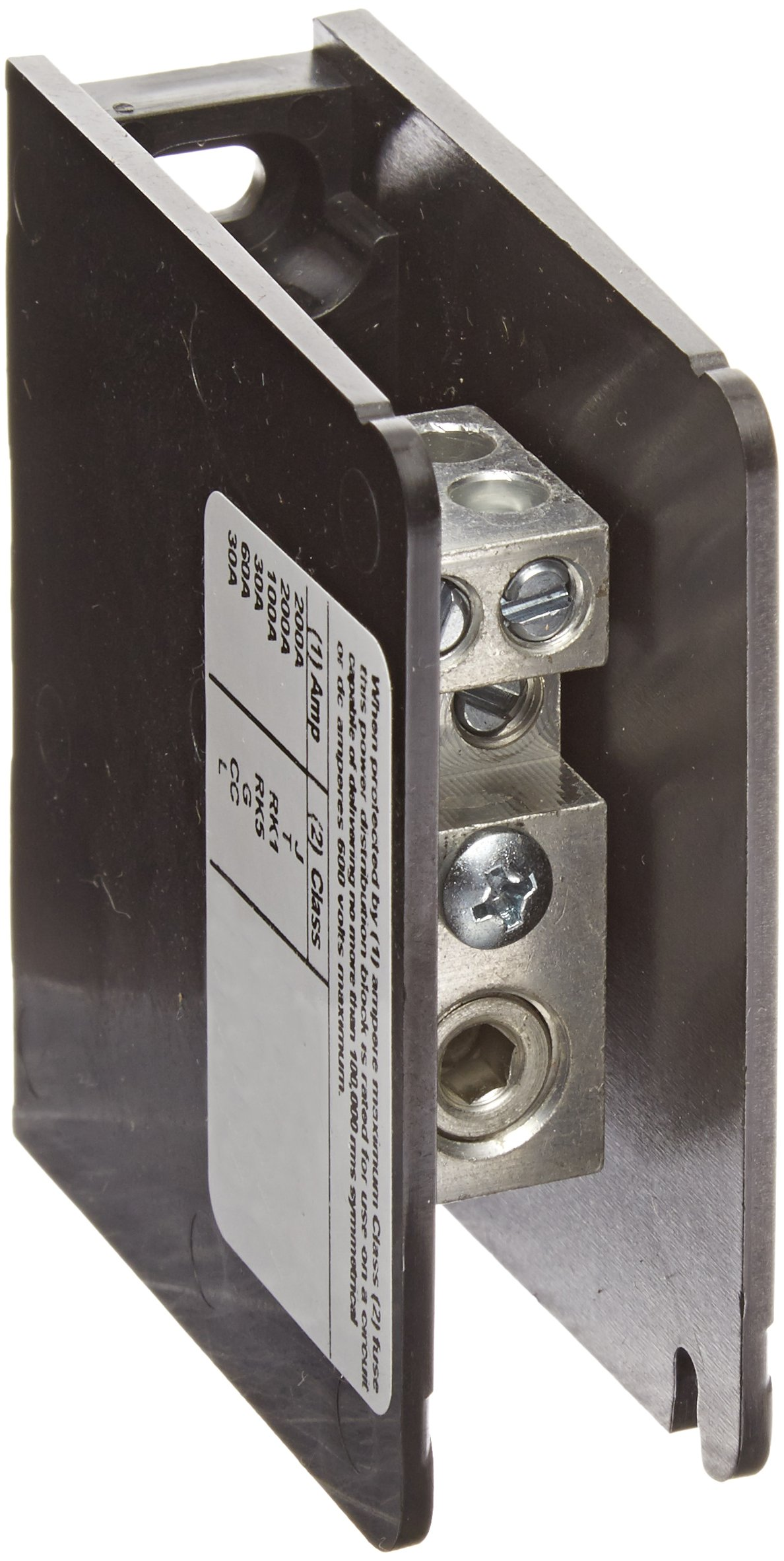 Mersen 63000 Aluminum Open Style Mini Box to Box Power Distribution Block with 1-Pole and 4 Stud, #4-14 Wire Size, 185 Ampere