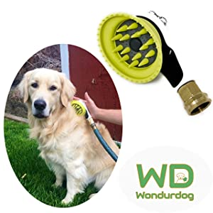 Wondurdog Quality Outdoor Dog Shower with All Metal Adapter | Attaches to Standard Garden Hose | Innovative Shower Brush with Splash Shield | Keep Water Away from Dogs Ears, Eyes and Yourself!