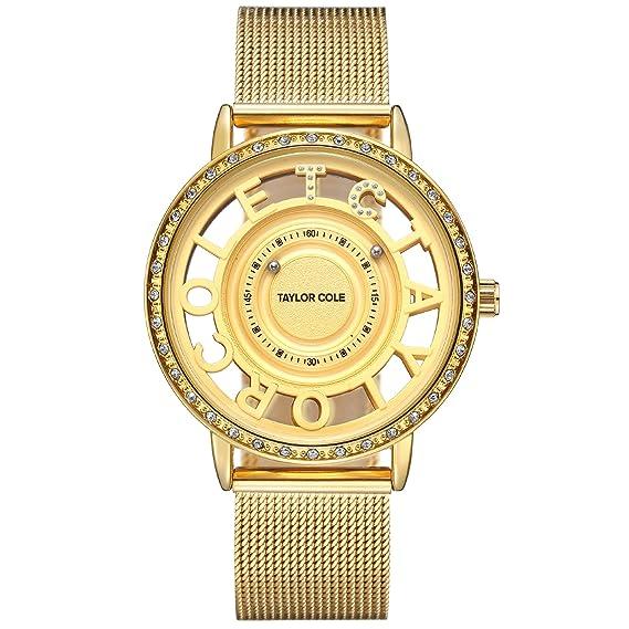 Taylor Cole Reloj Mujer de Moda Esqueleto Cuarzo Acero Inoxidable Reloj de pulsera Dorado TC130: Amazon.es: Relojes