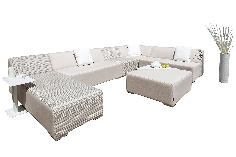 OUTFLEXX Mood Loungeset, creme-grau, Sunbrella Textil, für 8-10 Personen, inkl. Kissen