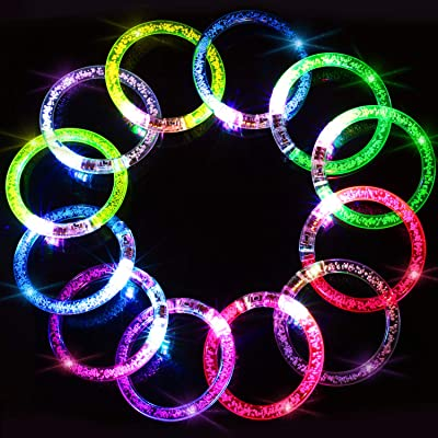 Novelty Place LED Bracelets Set - Party Supplies Favors, Light Up Toys Supplies for Thanksgiving, Christmas, Birthday - Glow Accessory for Kids and Adults - 6 Color, 12 Pack: Home & Kitchen
