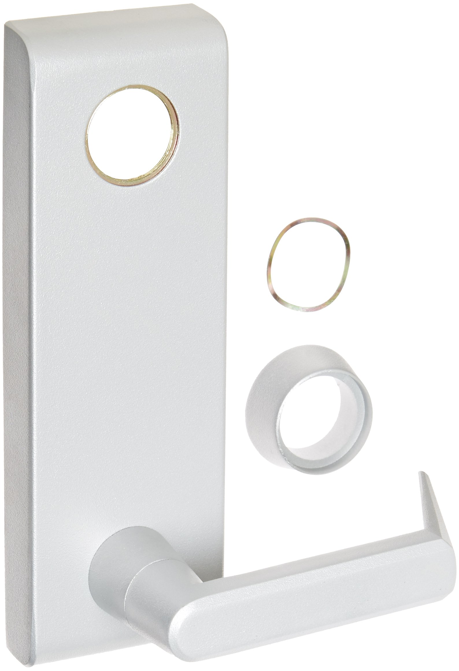 Stanley Commercial Hardware Stainless Steel Keyed Escutcheon Lever Standard Duty Exit Trim from the QET300 Collection, Sierra Style, Mortise Cylinder Type, Painted Aluminum Finish